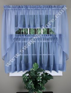 Elegance sheer voile Swag Pair, Tier Curtain Panel & Insert Valance in Colors and Styles for Every Window! Nine wonderful colors complement every decor, adding a light, airy look to any room.  #Cafe #Tier #Curtains