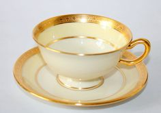 Sip your tea or coffee from this beautiful vintage Lenox Cup And Saucer Set / Footed Cup And Saucer Set by KillAnHour, $14.00