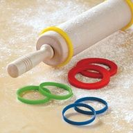 Silicone Rolling Pin Spacers, lets you roll dough to an even thickness. YES!