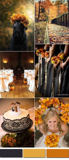 black and orange autumn wedding color inspiration