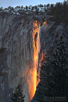 "Sunset on Horsetail Falls aka ""Fire Falls"" in Yosemite"