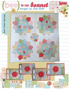 Blue Plate Special Quilt - 72 x 72  4 Plate Mats and Napkin Rings - 12 x 18  2 Hot Plates - 9 Round    Listing is for pattern only. This pattern uses