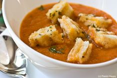 Grilled Tomato Soup with Grilled Cheese Croutons