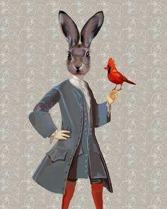 Conejo y Ave 14 x 11 Art Print Digital Arte por LoopyLolly en Etsy, $36.00
