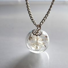 Make A Wish~Glass necklace with dandelion seeds inside!