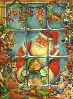 store windows, father christmas