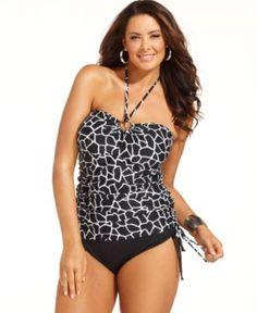 MICHAEL Michael Kors Halter Animal-Print Tankini Top Women's Swimsuit