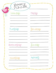 Free Printable Weekly Planner {To Do List, Menu Planner and Shopping List also available in the same design}
