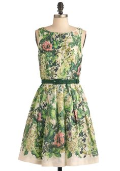 Change of Greenery Dress by Eva Franco - Mid-length, Wedding, Party, Vintage Inspired, Green, Orange, Pink, Tan / Cream, Floral, Pleats, A-line, Spring, Sleeveless