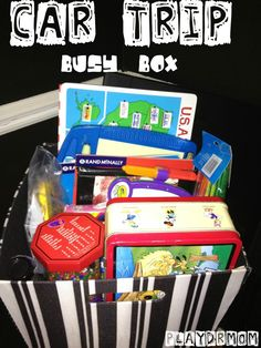Car Trip Busy Box - Love these ideas for long car trips!