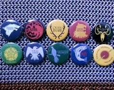 Game of Thrones House Sigils (button) sigil button, hous color, color game, throne hous, house colors, game of thrones, hous sigil