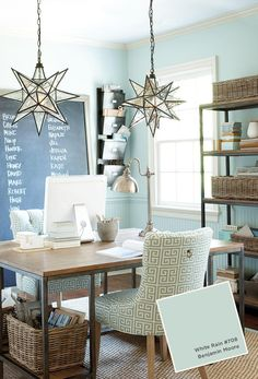 moor white, light fixtures, pendant, star, paint colors, white rain, benjamin moore, home offices, craft rooms