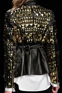 #Studded Leather jacket   leather skirt #2dayslook #new  leather # leatherfashion  www.2dayslook.com