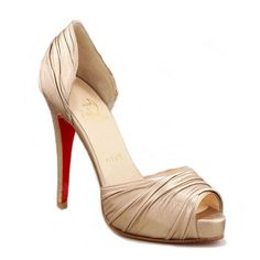 Christian Louboutin Platform Peep Toe Pumps Cream Ruched $158.00  http://www.louboutinsbuying.com/sale/Christian-Louboutin-Platform-Peep-Toe-Pumps-Cream-Ruched--1561.html