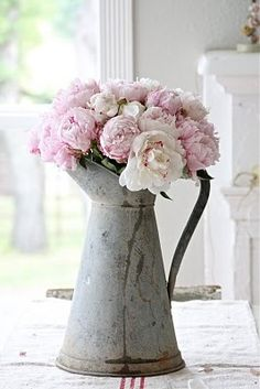 rose, pink flowers, vintage weddings, centerpiec, shabby chic, wedding center pieces, watering cans, fresh flowers, pink peonies