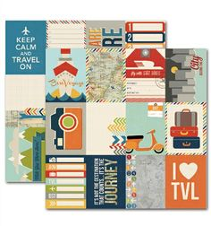Urban Traveler 3x4 Journaling Card Elements 1 Pattern Paper by Simple Stories