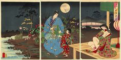 "Nighttime Japanese Art | Tattoo Ideas & Inspiration - Japanese Art | Chikanobu (Triptych) - ""A Full Moon"" -Chiyoda no On-Omote Series, 1890 | Soga Juro and Oiso Tora Gozen under a full moon | #Japanese #Art"