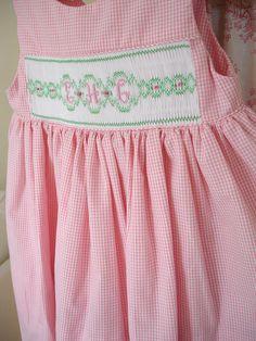 monogram plate, dress fabric, monogram dress, pink gingham, daughters