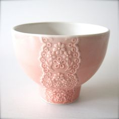 Pink Porcelain Lace Bowl with Heart