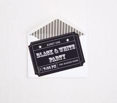 black and white ticket invitation