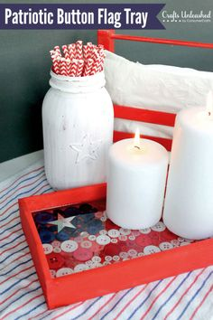 4th of July Decor: DIY Button Flag Tray Tutorial buttons trays, patriot button, button flag, craft ideas, flag tray