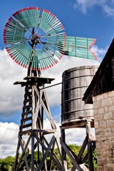 turquoise and red windmill