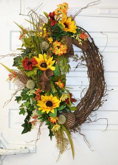 Fall Door Wreath on Grapevine with Sunflowers