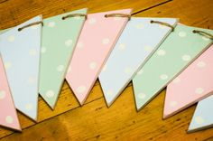 Wooden bunting polka dot shabby chic vintage pastel green pink blue. Parties, birthdays, christmas. £10.00, via Etsy.