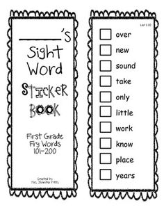 This is a sight word sticker book I made for my first graders.