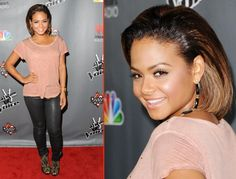 Christina Milian shows off her new 'do at The Voice Season 3 at House of Blues Sunset Strip in West Hollywood, California.