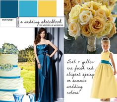 teal and yellow wedding. I like the three different colors.