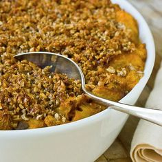 Recipe: Sweet Potato Bread Pudding with Pecan Streusel & Whiskey Sauce Recipes from The Kitchn