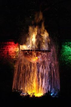 beautiful fountain at night in New Orleans