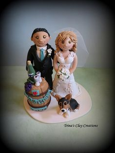 Wine Theme Wedding Cake Topper ~ By Trina's Clay Creations