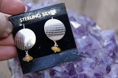 """Round Earrings sterling silver disc w/ Yellow by Crow's Creations for SistersArtisans, $42.00  *PLEASE Click on the """"etsy.com"""" words below to follow the link to this item."""
