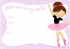 Printable free dance recital invitation template