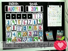 Do-it-yourself canvas calendar!  Free calendar labels as well.
