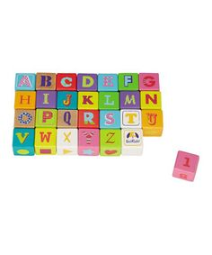 There is no better way to learn the alphabet, counting numbers, colors and shapes than by playing with this set of 28 colorful wooden cubes. Additionally, these cubes are also building blocks that inspire the imagination and develop motor skills, hand-eye coordination and problem solving.