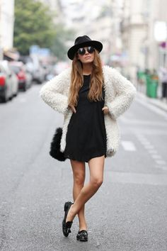 jacket, fashion, outfit, black white, street styles, fur, little black dresses, coat, hat