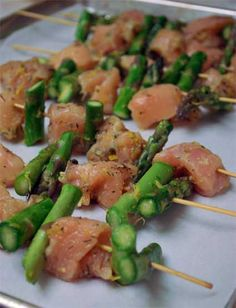 Clean Eating Recipes | Clean Eating Chicken Kebobs ...maybe with fresh green beans instead of asparagus
