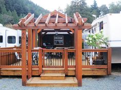 Steps, arbor & fencing add beauty to this RV #deck and #porch - Michael Geller's Blog: RV`s and smaller space living in Vancouver Sun