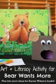 Karma Wilson book projects, including an art activity for Bear Wants More