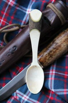 Small spoon with bark detail