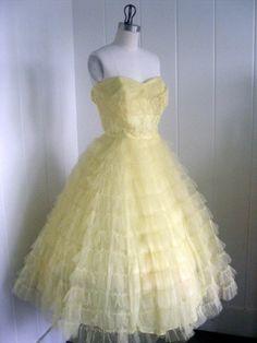 1950's vintage yellow dress