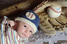 Newborn Baseball Hat for a Boy by MitziKnitz on Etsy.  A great idea for a summer baby.
