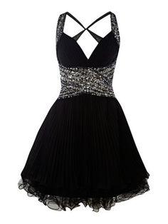 FOREVER UNIQUE  Pleated Diamante Detail Dress