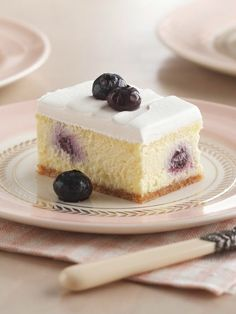 Creamy Lemon-Blueberry Dessert — A dense lemon center dotted with blueberries makes for a whole new take on cheesecake. With just 15 minutes of prep, there's no reason your meal shouldn't end memorably.