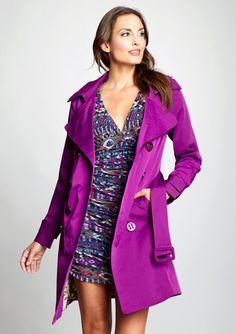 VERTIGO PARIS Double-Breasted Belted Raincoat