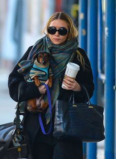 {Ashley Olsen + her doxie} best fashion accessory is a doxie!