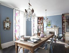 dining rooms, interior, light locat, dine room, blue